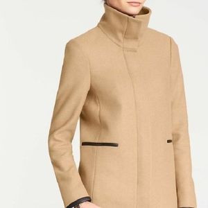 ✨HP✨ ANNTAYLOR   TOAST FAUX LEATHERTRIM WOOL COAT
